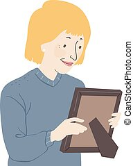 image, femme aînée, cadre, illustration