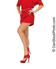 image, femme, hauts talons, robe, rouges