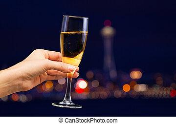 image, femme, main, verre, tenue, champagne