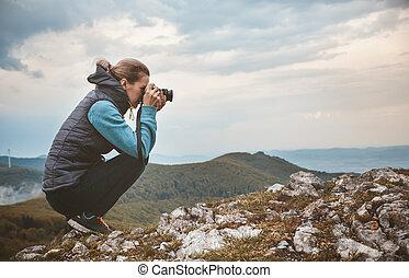 image, femme, montagne, photographe, prendre, paysage