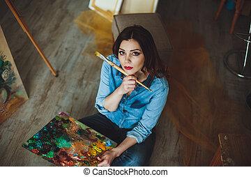 image, femme, studio, peinture, artiste