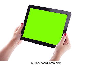 image, femme, tablette, fond, mains, blanc, tenue, d