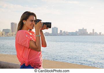image, femme, touriste, appareil-photo photo, photographe