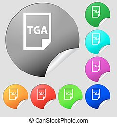Image File type Format TGA icon sign. Set of eight multi colored round buttons, stickers. Vector