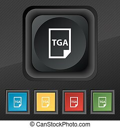Image File type Format TGA icon symbol. Set of five colorful, stylish buttons on black texture for your design. Vector