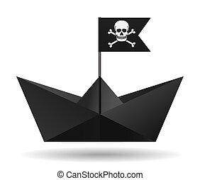 image., flag., elszigetelt, object., dolgozat, háttér., vektor, fekete, fehér, kalóz, csónakázik