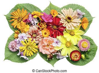 image, fleurs, médaillon