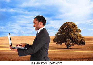 image, fonctionnement, homme affaires, composite, ordinateur portable