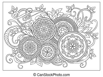 image for adult coloring page - Hand drawn decorated image ...