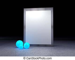 image frame  with red glow ball