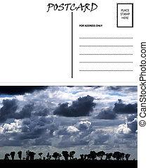 image, gabarit, afrique, vide, ciel nuageux, vide, carte postale