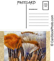 image, gabarit, artiste, vide, vide, brosses, carte postale