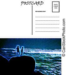 image, gabarit, couple, vide, mer, vide, carte postale