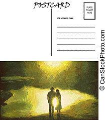 image, gabarit, couple, vide, vide, reflet, carte postale