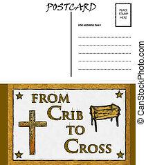 image, gabarit, vide, berceau, vide, carte postale, croix