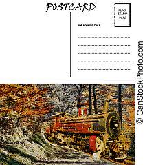 image, gabarit, vide, vapeur, vide, carte postale, train