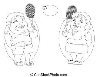 image, gens, graisse, noir, tennis., blanc, jouer