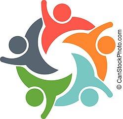 image, gens, logo., collaboration, cinq, personnes