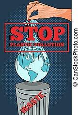 image, globe, écologique, dehors, sac, main, pop-art, signe, emballé, concept, avertissement, arrêt, rouges, plastique, pullution, seau, lancement, déchets