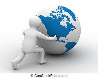 image., globe, isolé, arrière-plan., blanc, homme, rouleaux, 3d