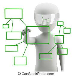 image., gombolódik tol, háttér., emberi, interface., érint, white ellenző, 3