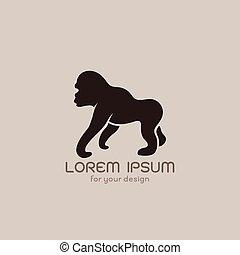 image, gorille, vecteur, brunâtre, fond, conception