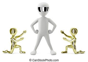 image., goud, tonen, mensen, kleine, leader., zijn, 3d