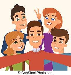 image, groupe, gens, photo, prendre, selfie