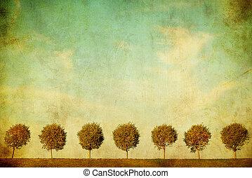 image, grunge, arbres