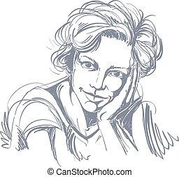 image., guapo, drawing., idea, vector, soñador, delicado,...