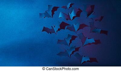 image, halloween, arrière-plan., papier, bleu sombre, voler...