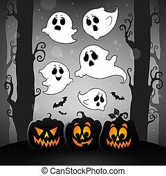 image, halloween, thème, fantômes, 4