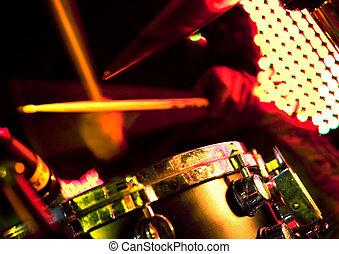 image, haut, tambours, fin, jouer, homme