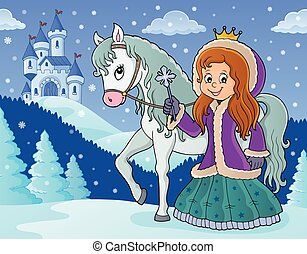 image, hiver, 2, cheval, princesse