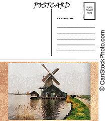 image, hollandais, gabarit, vide, éolienne, vide, carte postale