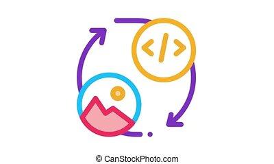 image, icône, code, programmation, animation
