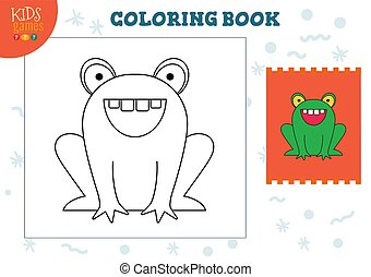 image, illustration, copie, vecteur, dessin animé, rigolote, grenouille, exercise., couleur