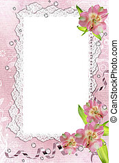 image, illustration, dentelle, rose, cadre, orchidées, composition