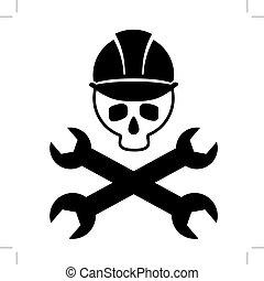 image, image., crâne, casque, isolated., skull., wrenches., vecteur, noir, traversé, construction, blanc, icône