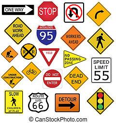 image, isolé, arrière-plan., divers, signes, blanc, route