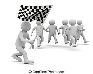 image, isolé, arrière-plan., drapeau, blanc, homme, 3d