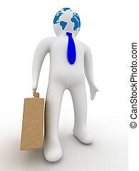 image., isolé, arrière-plan., homme affaires, blanc, 3d