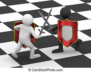image, isolé, baston, fond, swords., blanc, 3d