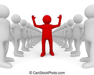 image, isolé, leadership., conceptuel, blanc, 3d