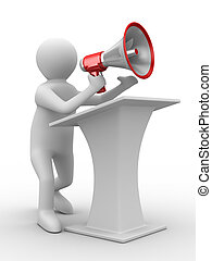 image, isolé, megaphone., orateur, parle, 3d