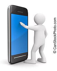 image, isolé, téléphone, white., homme, 3d