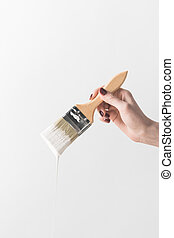image, isoleret, klippet, maling børst, holde, pige, hvid