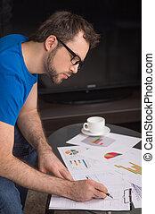 image, jeune, glasses., stylo écriture, papier, closeup, utilisation, main, homme
