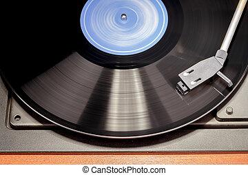 image., jugador, vendimia, movimiento, registro, girar,...