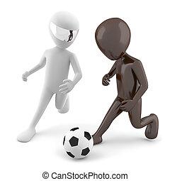 image., két, football., háttér, fehér, ember, játék, 3